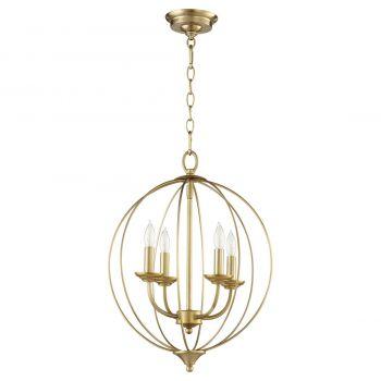 """Quorum Flora 15.25"""" 4-Light Chandelier in Aged Brass"""