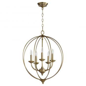 """Quorum Flora 19.25"""" 5-Light Chandelier in Aged Brass"""