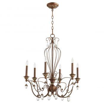 """Quorum Venice 26"""" 6-Light Chandelier in Vintage Copper"""