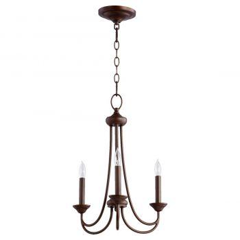 """Quorum Brooks 16"""" 3-Light Chandelier in Oiled Bronze"""