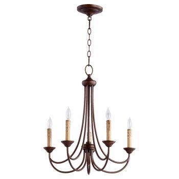 """Quorum Brooks 22"""" 5-Light Chandelier in Oiled Bronze"""