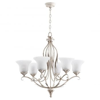 """Quorum International Flora 6-Light 29"""" Traditional Chandelier in Persian White with White Linen"""