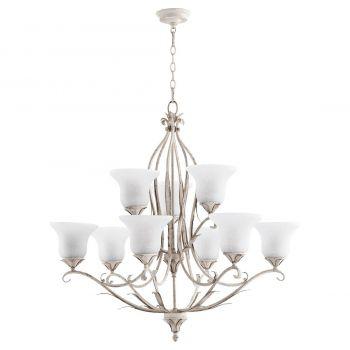 "Quorum Flora 35.75"" 9-Light Chandelier in Persian White"