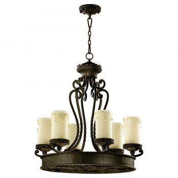 """Quorum Alameda 28"""" 6-Light Chandelier in Oiled Bronze"""