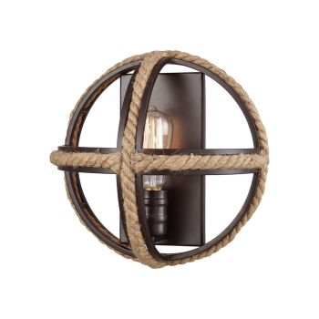 Elk Lighting Natural Rope 1-Light Wall Sconce in Oil Rubbed Bronze