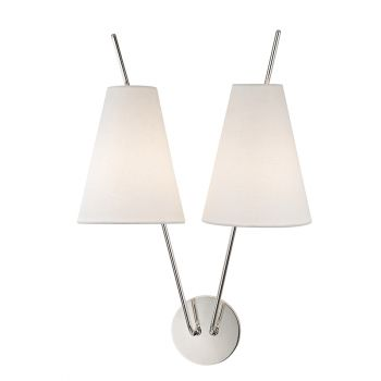 Hudson Valley Milan 2-Light Wall Sconce in Polished Nickel