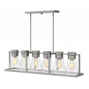 Hinkley Refinery 6-Light Linear Chandelier in Brushed Nickel with Clear Glass