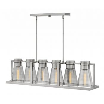 Hinkley Refinery 6-Light Linear Chandelier in Brushed Nickel with Smoked Glass