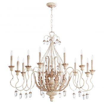"""Quorum Venice 40"""" 12-Light Chandelier in Persian White"""