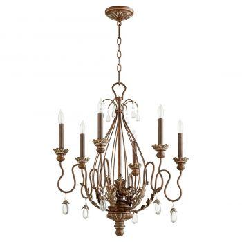 """Quorum Venice 25"""" 6-Light Chandelier in Vintage Copper"""