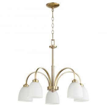 "Quorum Reyes 26"" 5-Light Nook Chandelier in Aged Brass"