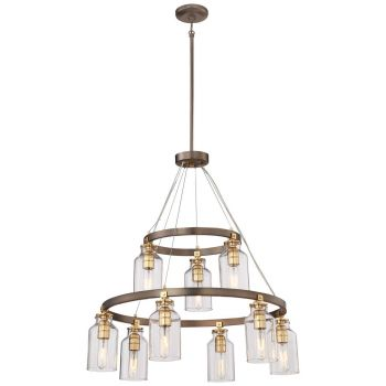 "Minka Lavery Morrow 9-Light 29"" Transitional Chandelier in Harvard Court Bronze with Gold Hi"