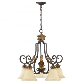 "Quorum International Capella 5-Light 26"" Dinette & Breakfast Chandelier in Toasted Sienna With Golden Fawn"