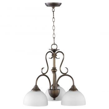 """Quorum Powell 21.5"""" 3-Light Nook Chandelier in Oiled Bronze"""