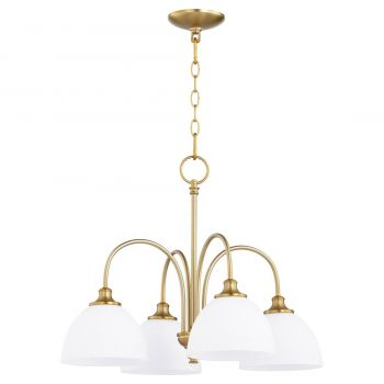 "Quorum Celeste 22"" 4-Light Nook Chandelier in Aged Brass"