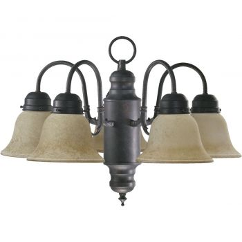 "Quorum International Traditional 5-Light 14"" Dinette & Breakfast Chandelier in Toasted Sienna"