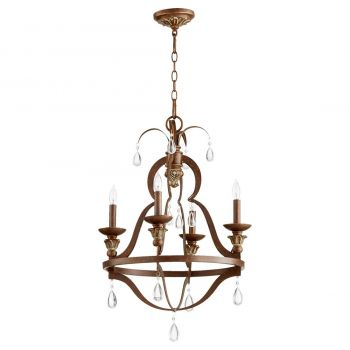 """Quorum Venice 19.5"""" 4-Light Chandelier in Vintage Copper"""