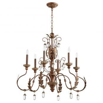 """Quorum Venice 32"""" 6-Light Chandelier in Vintage Copper"""