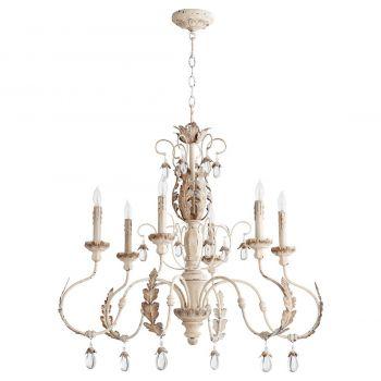 """Quorum Venice 32"""" 6-Light Chandelier in Persian White"""