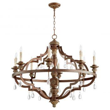 """Quorum Venice 37"""" 8-Light Chandelier in Vintage Copper"""