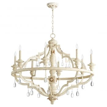 """Quorum Venice 37"""" 8-Light Chandelier in Persian White"""