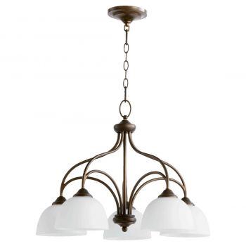 """Quorum Brooks 25"""" 5-Light Nook Chandelier in Oiled Bronze"""