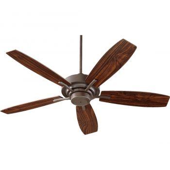 """Quorum SOHO 52"""" Indoor Ceiling Fan w/ Teak Blades in Oiled Bronze"""