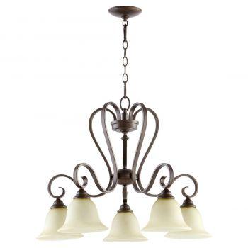 """Quorum Celesta 27.5"""" 5-Light Nook Chandelier in Oiled Bronze"""