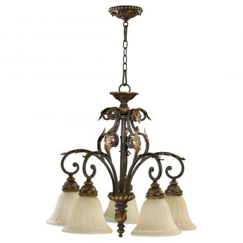 "Quorum International Rio Salado 5-Light 26"" Dinette & Breakfast Chandelier in Toasted Sienna With Mystic Silver"