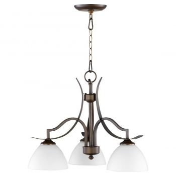 "Quorum International Atwood 3-Light 23"" Dinette & Breakfast Chandelier in Oiled Bronze with Satin Opal"