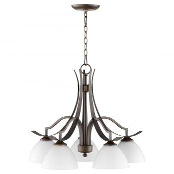 "Quorum International Atwood 5-Light 25"" Dinette & Breakfast Chandelier in Oiled Bronze with Satin Opal"