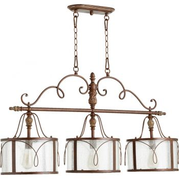 "Quorum Salento 42"" 3-Light Island Pendant in Vintage Copper"