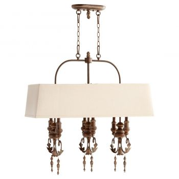 "Quorum Salento 31.75"" 6-Light Island Pendant in Vintage Copper"