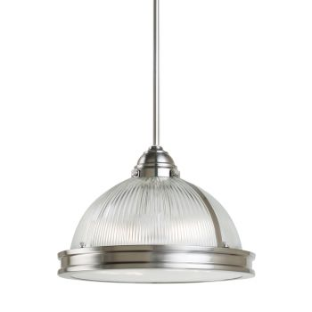 Sea Gull Lighting Pratt Street Prismatic 2-Light Pendant in Brushed Nickel