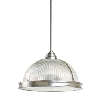 Sea Gull Lighting Pratt Street Prismatic 3-Light Pendant in Brushed Nickel