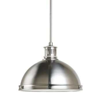 Sea Gull Lighting Pratt Street Metal 2-Light Pendant in Brushed Nickel