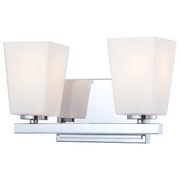 "Minka Lavery City Square 2-Light 12"" Bathroom Vanity Light in Chrome"