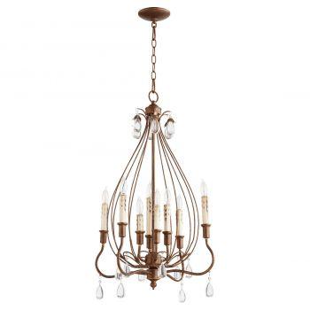 """Quorum Venice 20"""" 8-Light Chandelier in Vintage Copper"""