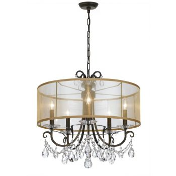 Crystorama Othello 5-Light Clear Crystal English Chandelier in Bronze