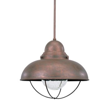 Sea Gull Lighting Sebring 1-Light Outdoor Pendant in Weathered Copper