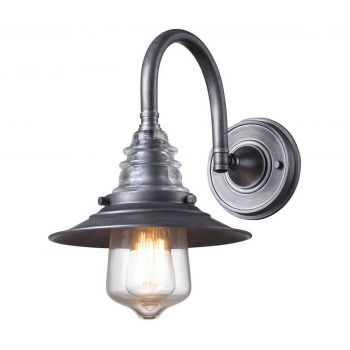 """Elk Insulator Glass 14"""" Wall Sconce in Weathered Zinc"""