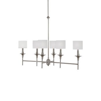 Sea Gull Lighting Stirling 6-Light Island Linear Chandelier in Brushed Nickel