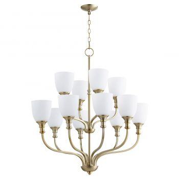 """Quorum Richmond 34"""" 12-Light Chandelier in Aged Brass"""