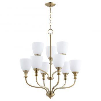 """Quorum Richmond 26"""" 9-Light Chandelier in Aged Brass"""