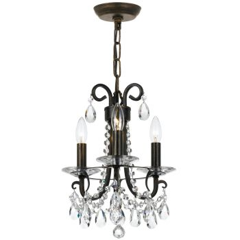 Crystorama Othello 3-Light Clear Crystal Mini Chandelier in English Bronze