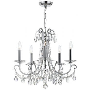 Crystorama Othello 5-Light Clear Crystal Polished Chandelier in Chrome