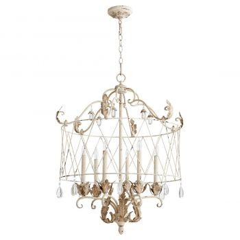 "Quorum Venice 27.5"" 6-Light Pendant in Persian White"