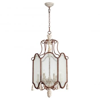 "Quorum La Maison 21"" 6-Light Entry Chandelier in Manchester Gray/Rust"