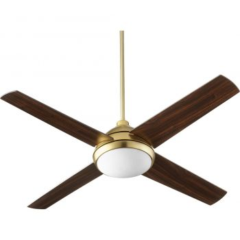 """Quorum Quest 52"""" 4-Blade LED Indoor Ceiling Fan in Aged Brass"""