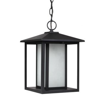 "Sea Gull Lighting Hunnington 9"" Outdoor Etched Seeded Pendant in Black"